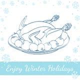 Julstek Turkiet med äpplen på plattan Royaltyfria Bilder