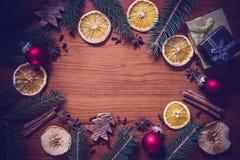 Julstilleben med frukt och kryddor Royaltyfria Bilder