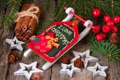 Julstilleben med ljusa symboler Fotografering för Bildbyråer