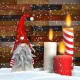 Julstilleben med stearinljus och juldvärgen vektor illustrationer