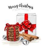 Julstilleben, vit gåvaask med det stora röda bandet, bunt av bruna kaka-, kanel- och klirrklockor stock illustrationer