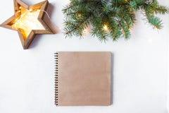 Julstjärna, granfilialer, garneringar för nytt år, notepad på en ljus bakgrund arkivbilder