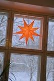 Julstjärna i fönster Royaltyfri Bild