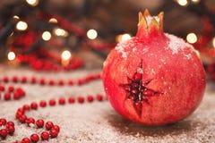 Julstjärna i granatäpple arkivbild