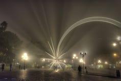 Julstjärna i Verona, Italien och dimma på natten Royaltyfri Fotografi