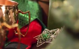 Julstjärna och strumpa Royaltyfria Foton