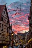 Julstjärnor i Colmar Fotografering för Bildbyråer