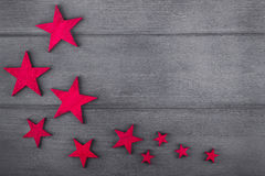 Julstjärnor på träbakgrund Top beskådar kopiera avstånd Arkivfoto