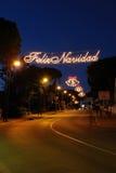 Julstreetlights, Calahonda, Spanien. arkivbild