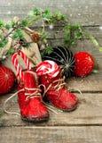 Julstrumpa. festlig nostalgisk garnering arkivfoto