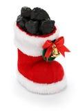 Julstrumpa mycket av kol royaltyfri bild