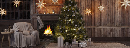 Julstrumpa på spisbakgrund framförande 3d Royaltyfri Bild