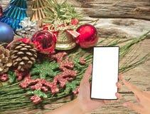 Julstruntsaker och varierar av garnering på wood bakgrund Arkivbild