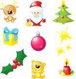 Julsymbol - santa, xmas-träd, stearinljus, ren Royaltyfria Bilder