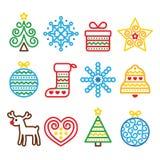 Julsymboler med slaglängden - Xmas-träd, gåva, ren Arkivfoto
