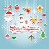 Julsymboler: Objekt hängande garnering Royaltyfri Illustrationer