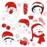 Julsymboler och element royaltyfri illustrationer