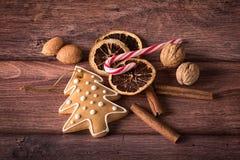 Julsymboler på trä Royaltyfria Foton