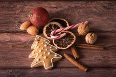 Julsymboler på trä Fotografering för Bildbyråer
