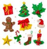 Julsymboler på vit bakgrund Royaltyfri Fotografi