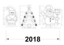 Julsymboler - ritning Arkivbild