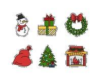 Julsymboler ställde in, vektoröversikten och färgfärgillustrationer Stock Illustrationer
