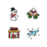 Julsymboler ställde in, vektoröversikten och färgfärgillustrationer royaltyfri illustrationer