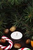 Julsymboler - strumpa, stearinljus, gran-träd, godisrotting, cin Royaltyfri Bild