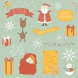 Julsymbols-/objektsamling. Royaltyfri Bild