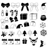 Julsymbolsuppsättning på vit bakgrund Royaltyfria Bilder
