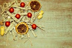 Jultabellgarnering med lilla santas Arkivfoto