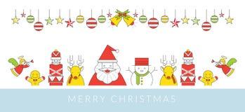 Julteckenlinje stil och prydnad Royaltyfri Illustrationer