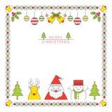Julteckenlinje stil och prydnadram, gräns Vektor Illustrationer