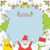 Julteckenram, linje stil Royaltyfri Illustrationer