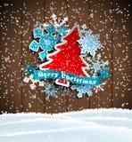 Jultema, abstrakt träd och snöflingor på Royaltyfri Fotografi