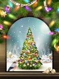 Jultema - fönster med en sort 10 eps Fotografering för Bildbyråer