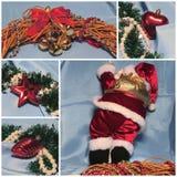 Jultemacollage Jultomten och garneringar Rött och ljust - blått Royaltyfri Fotografi