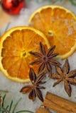 Jultidkryddor och apelsinskivor royaltyfria foton