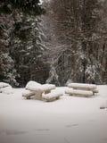 Jultidplats med bänken och träd Royaltyfri Bild