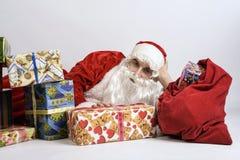 Jultomte med gåvor royaltyfria bilder