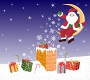 Jultomte på moonen sprider magiska snowflakes Royaltyfria Foton