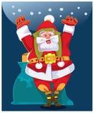Jultomten önskar folk ett lyckligt nytt år och en glad jul Royaltyfria Bilder