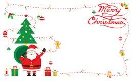 Jultomten dekorerar, ramen & bakgrund Fotografering för Bildbyråer
