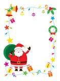 Jultomten dekorerar, ramen & bakgrund Vektor Illustrationer