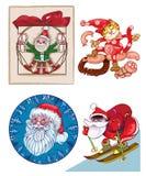 Jultomten en blandning av separata bilder Arkivfoto