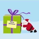 Jultomten flyttar en stor gåva royaltyfri illustrationer