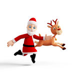 Jultomten framlägger glad jul Arkivbilder