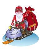 Jultomten går på en snövessla, det är lyckliga folkgåvor Arkivbild