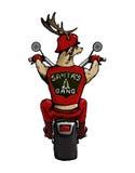 Jultomten hjortar som rider en cykel Arkivfoto