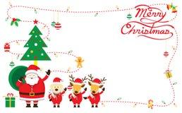 Jultomten, hund & ren, gräns & bakgrund Stock Illustrationer